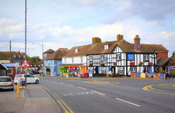A259 road Dymchurch Kent United Kingdom. A259 coastal road in Dymchurch village Kent England United Kingdom on nice summer day.Dymchurch is a village and civil Stock Image
