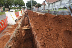 Road Earthworks Trench Stock Images