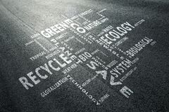Road with eco word cloud Stock Photo
