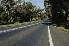 Road edge on hills Stock Photo