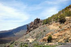 Road through the el teide nation park Royalty Free Stock Image
