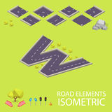 Road elements isometric. Road font. Letter W Royalty Free Stock Images