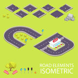 Road elements isometric. Road font. Letters C and Royalty Free Stock Photography
