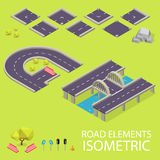 Road elements isometric. Road font. Letters G and Royalty Free Stock Photos