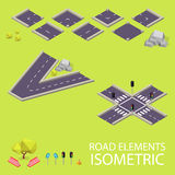 Road elements isometric. Road font. Letters V and Royalty Free Stock Photo
