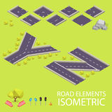 Road elements isometric. Road font. Letters Y and Royalty Free Stock Photography