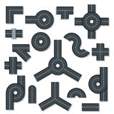 Road elements parts icons set, flat style Stock Images