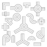Road elements parts icons set, flat style Royalty Free Stock Photography