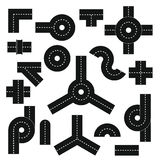 Road elements parts icons set, flat style Stock Photos