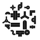 Road elements parts icons set, flat style. Road elements parts icons set. Flat illustration of 16 road elements parts vector icons for web Royalty Free Stock Photos