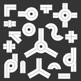 Road elements parts icons set grey vector. Road elements parts icons set vector white isolated on grey background Royalty Free Stock Photos
