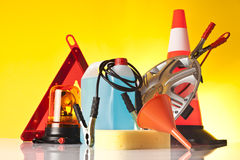 Road emergency accessories and car service items Royalty Free Stock Photography
