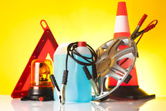 Road emergency accessories and car service items Royalty Free Stock Photo