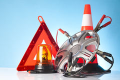 Road emergency items and car accessories Stock Images