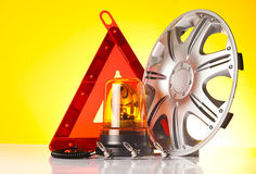 Road emergency items and car accessories Royalty Free Stock Image