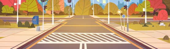 Road Empty City Street With Crosswalk And Traffic Lights. Flat Vector Illustration Stock Images