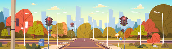 Road Empty City Street With Crosswalk And Traffic Lights. Flat Vector Illustration Royalty Free Stock Photography
