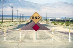 Road End. Traffic Sign.  Somewhere in Southern California, USA. Traffic Photography Collection Stock Photo