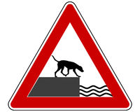 Road ending warning sign for dogs Stock Photos