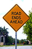 Road Ends Ahead Sign Stock Photo