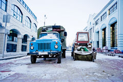 Road engineering. Road construction equipment on a pedestrian street in Tver Stock Photo