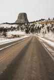 Road Entrance Devils Tower Wyoming Winter Snow Stock Photo