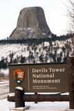 Road Entrance Devils Tower Wyoming Winter Snow Royalty Free Stock Images