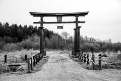 Wooden Chinese gate Stock Photography