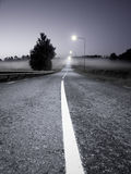 Road in evening fog Stock Photo