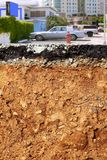 Road excavation earthquake city cross section Royalty Free Stock Photography
