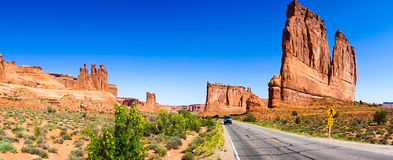 Road through famous Arch National Park. Panoramic view, Utah, United States Royalty Free Stock Photo