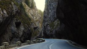 Road at famous romanian canyon Cheile Bicazului. Road at the famous romanian canyon Cheile Bicazului stock video