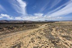 Road through the fantastic coastal area of Lanzarotes Northwest, Lanzarote, Spain royalty free stock images