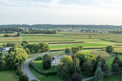 Road Through the Farmland. An aerial view of farmland in Lancaster County, Pennsylvania Stock Image
