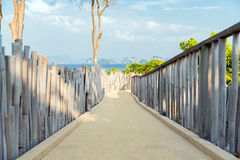Road with fence at seaside Royalty Free Stock Image