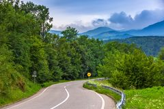 A winding road to the mountains in Valjevo, Serbia. stock images