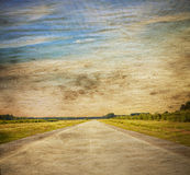 Road in a field. Old grungy illustration Royalty Free Stock Photos