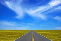 Road through field. With the sky background Royalty Free Stock Image