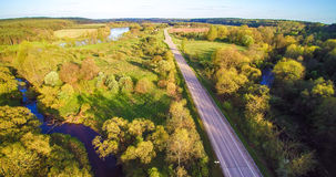 Road and field aerial royalty free stock image