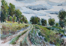 Road in a field along the forests, cloud. Original oil painting road in a field along the forests, cloud on canvas. Impasto artwork. Impressionism art Royalty Free Stock Image