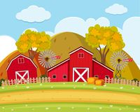 Road and field on the farm. Illustration Royalty Free Stock Photography