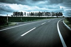 Road and Field. A road in Hokkaido Japan with tree background Stock Images