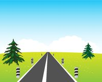 Road in field. The Main road in year field.Vector illustration Stock Photography