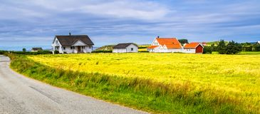 Road, field and rural house on the coast of ocean. Norway. Count Royalty Free Stock Image