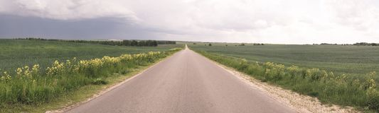Road in the field, stormy sky stock images