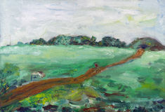 Road through the field. Summer abstract landscape. Handmade naive oil painted illustration on canvas Stock Photo