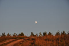Road field twilight moon Royalty Free Stock Images