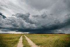 A road in the fields in front of stormy clouds.  royalty free stock image