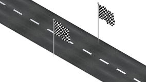 Road with finish flag Stock Photography