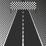 Road with finish flag isolated on transparent background. Eps10. Vector illustration template for your design. Road with finish flag isolated on transparent Stock Images